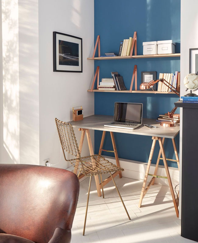 deco bureau bleu mur bleu canard