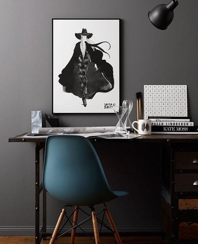 deco bureau bleu chaise pétrole