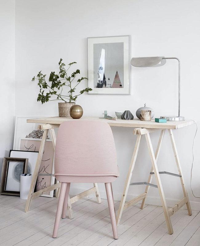 deco bureau cosy bois clair rose