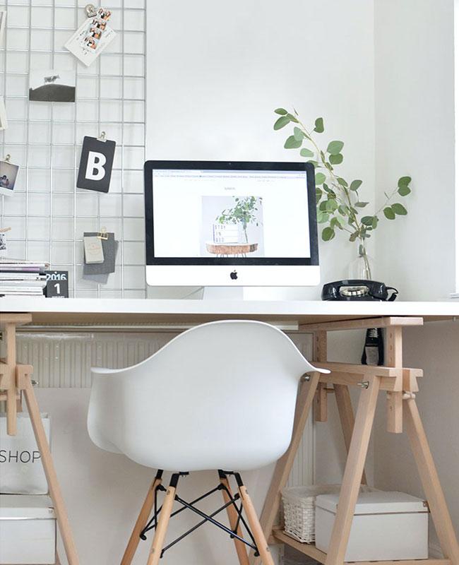 deco bureau cosy blanc bois