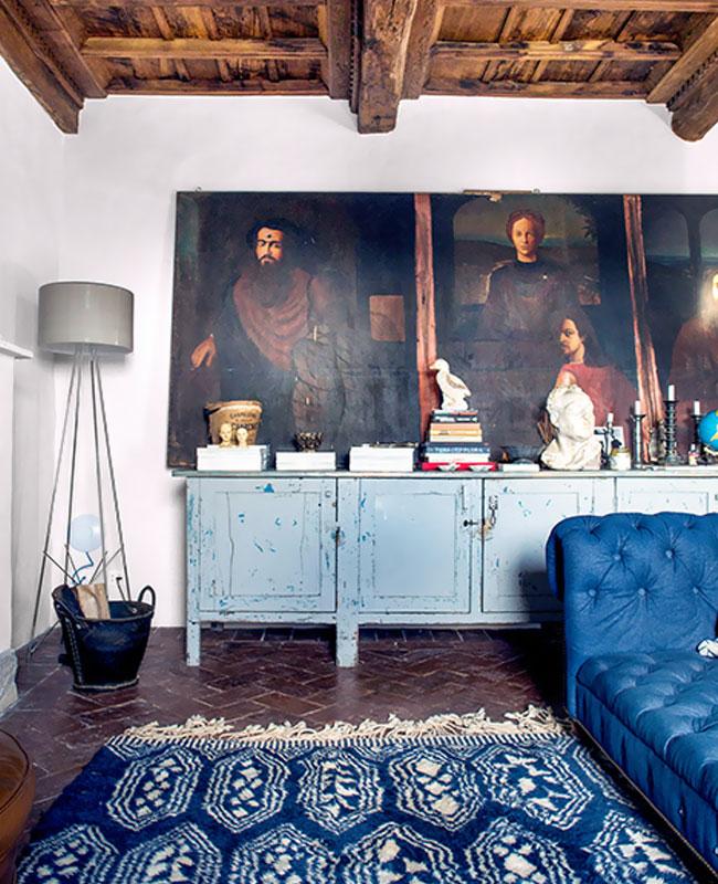 deco campagne bleu salon rustique
