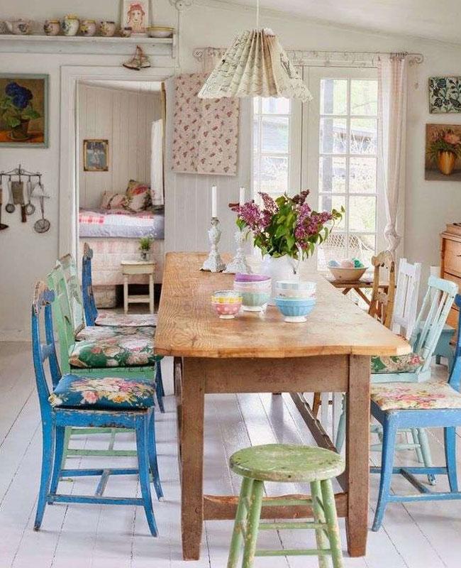 deco campagne bleu cuisine chaise