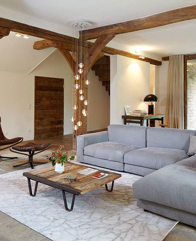 deco campagne moderne salon gris bois
