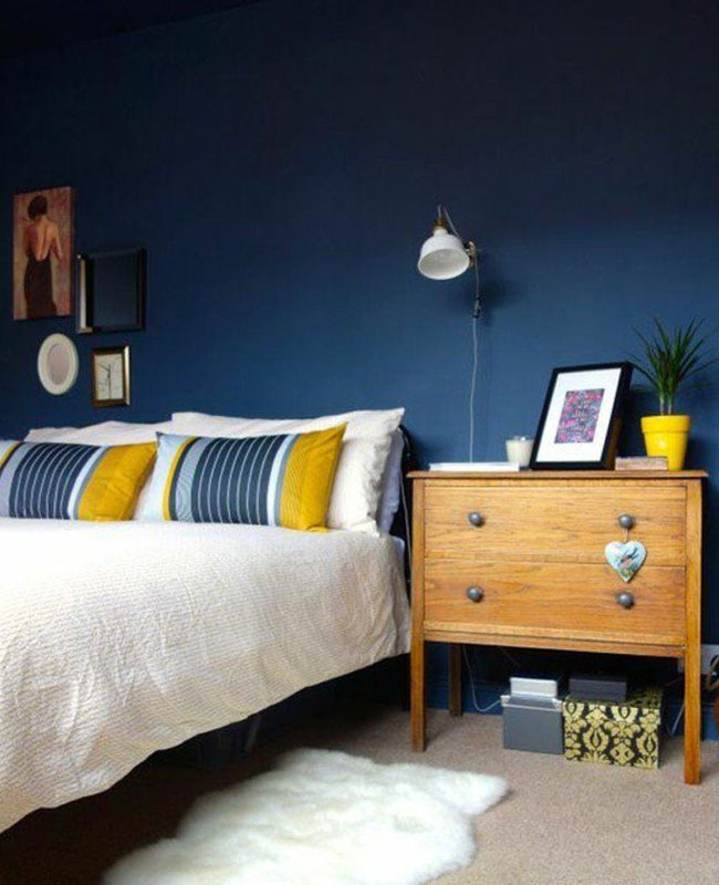 deco chambre bleu canard jaune moutarde