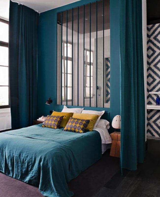 deco chambre bleu canard total look