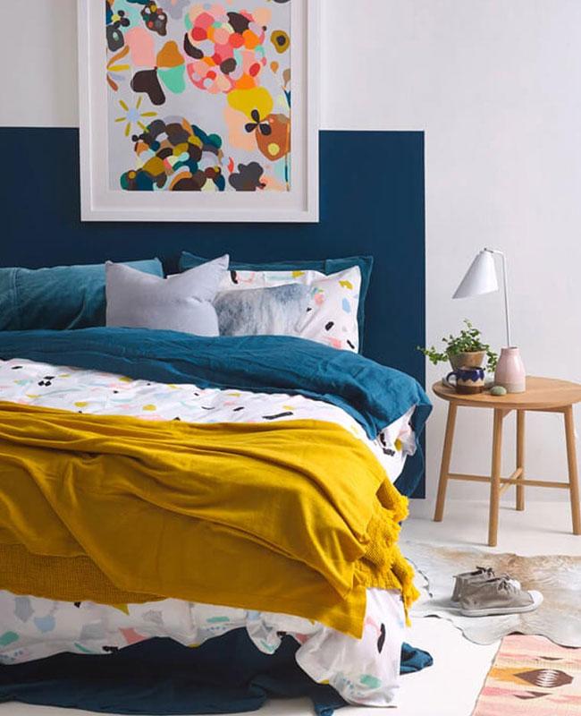 deco chambre bleu canard jaune