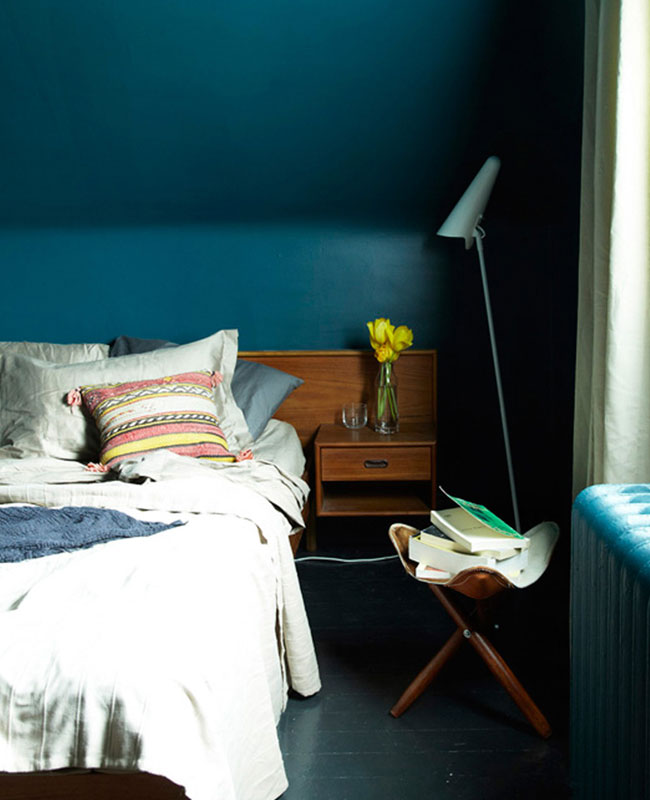 deco chambre bleu canard vintage