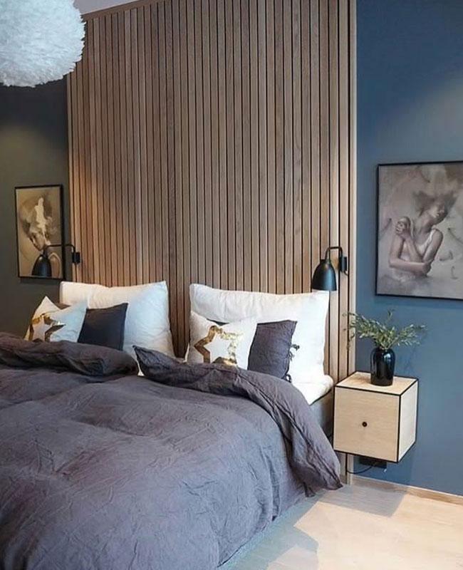 deco chambre moderne bois bleu