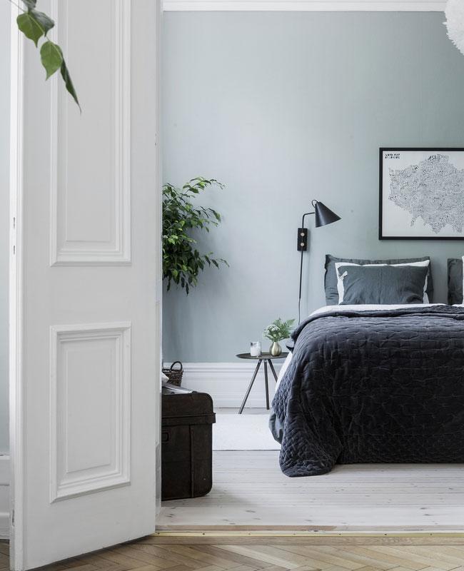deco chambre moderne bleu vert