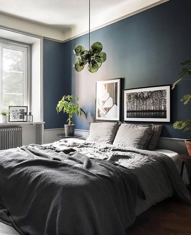 deco chambre moderne bleu canard gris