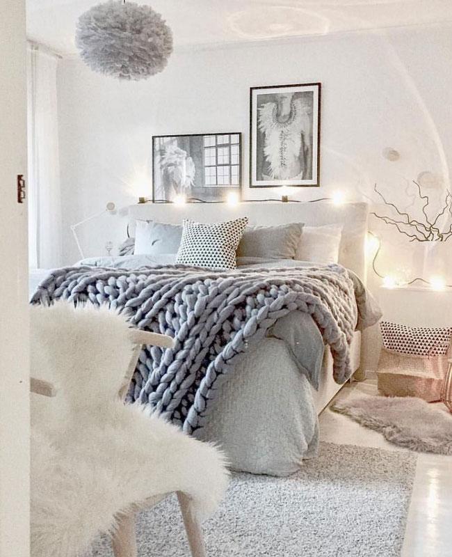 deco cosy gris chambre plaid