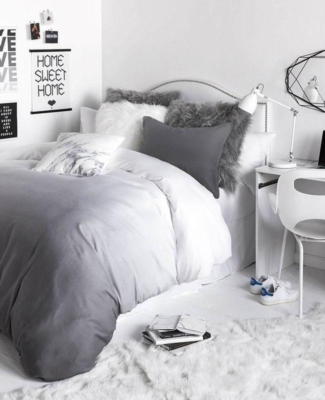 deco cosy gris chambre blanc