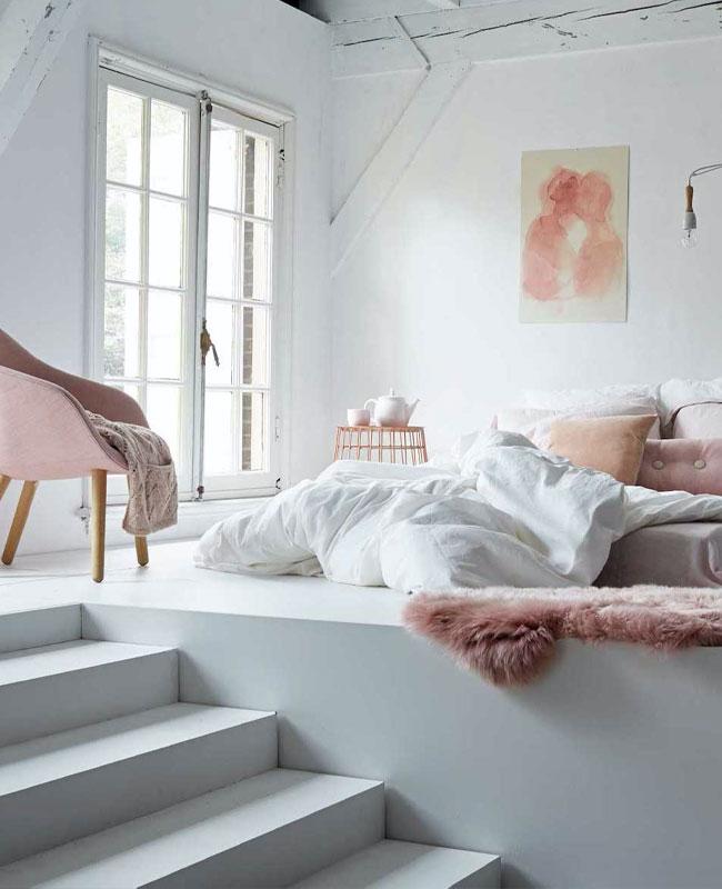 deco cosy rose chambre blanc