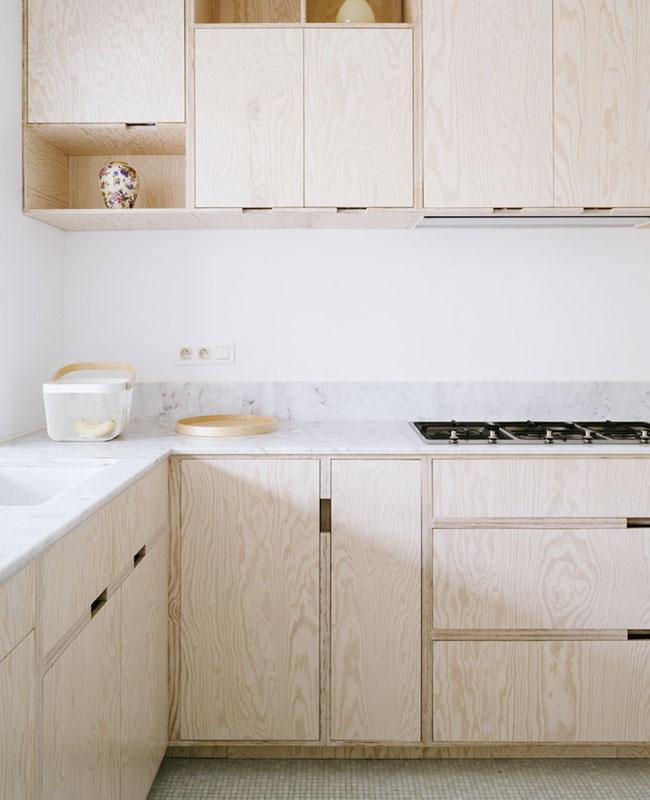 deco cuisine moderne contrepaqué marbre