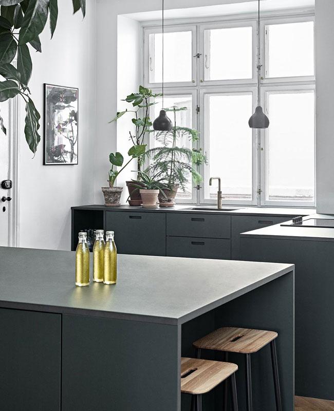 deco cuisine moderne vert foncé