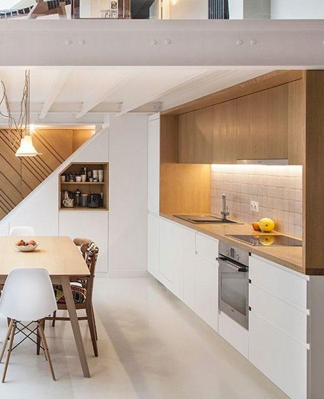 deco cuisine moderne blanc bois