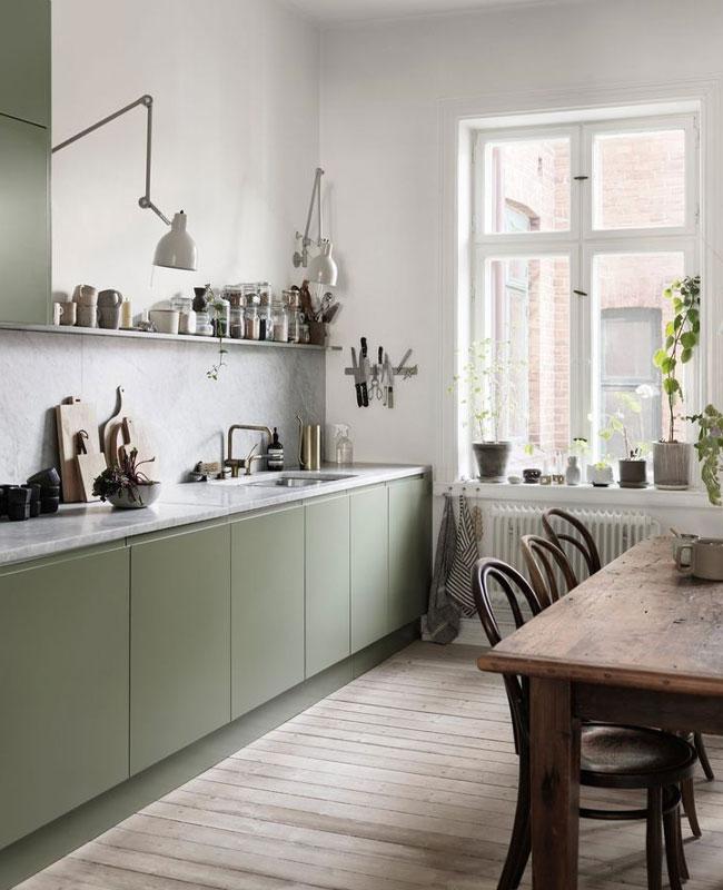 deco cuisine scandinave vert bois