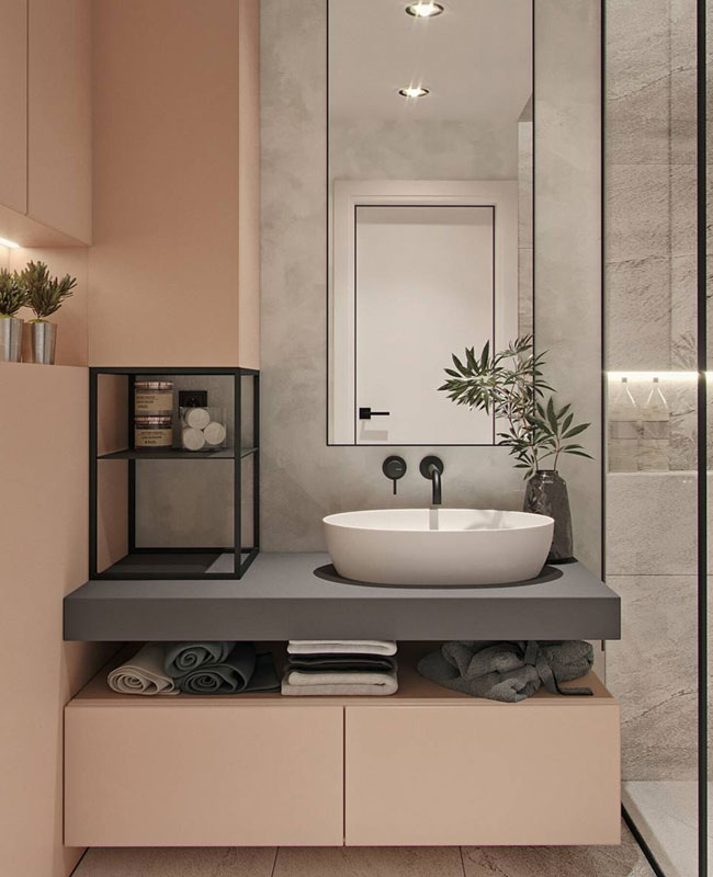 deco gris rose salle de bain moderne