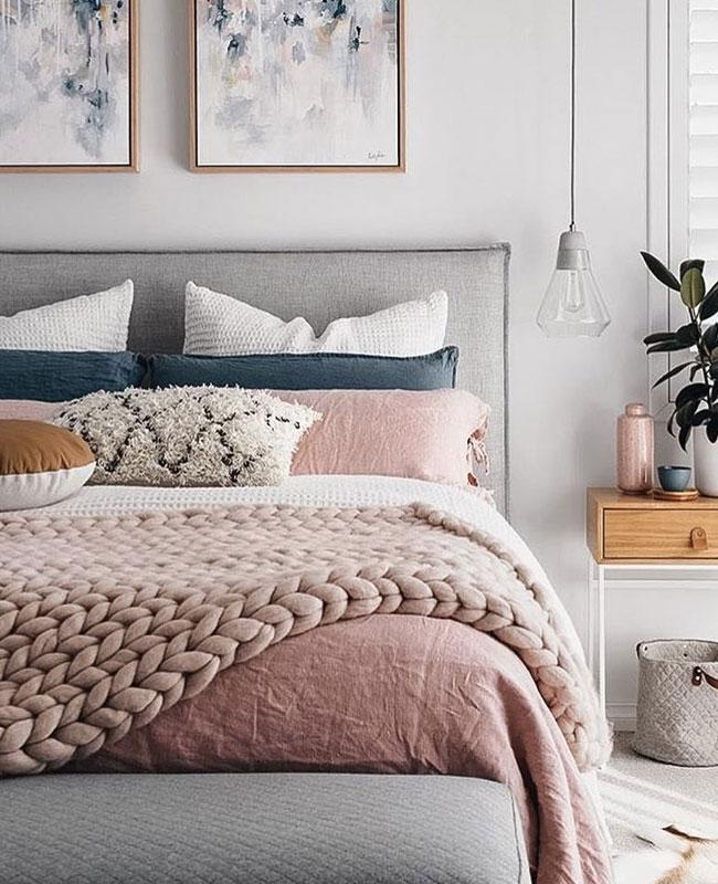 deco gris rose chambre moderne