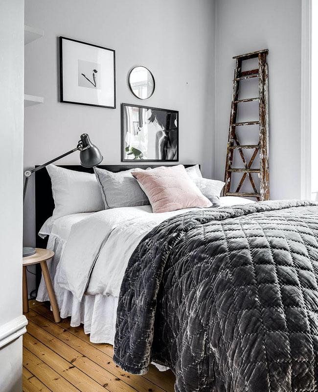deco gris rose chambre scandinave