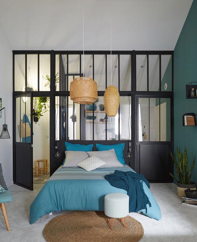 deco industrielle bleu chambre linge de lit