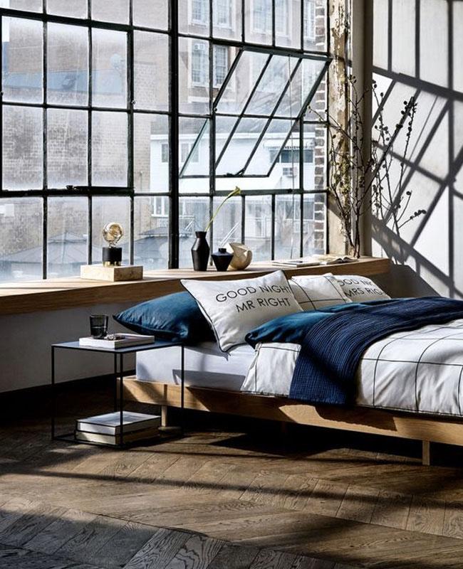 deco industrielle bleu chambre bois