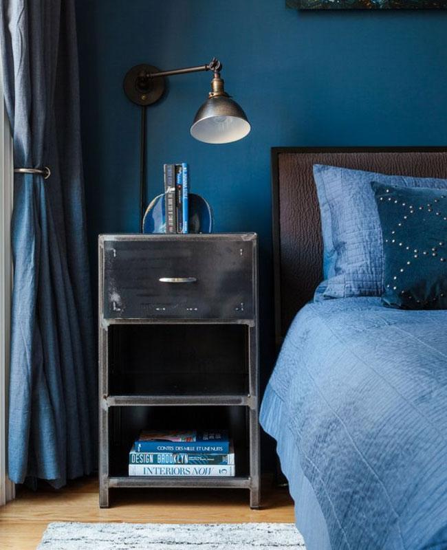 deco industrielle bleu canard chambre