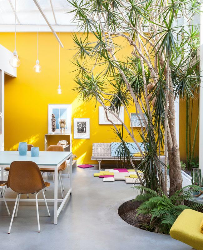 deco industrielle jaune mur loft