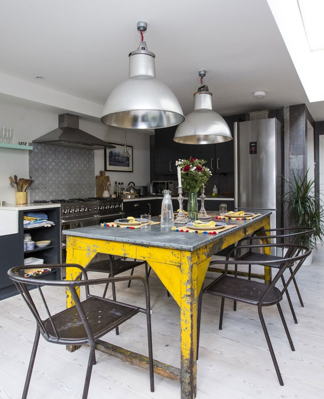 deco industrielle jaune cuisine table