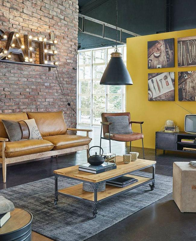 deco industrielle jaune salon mur