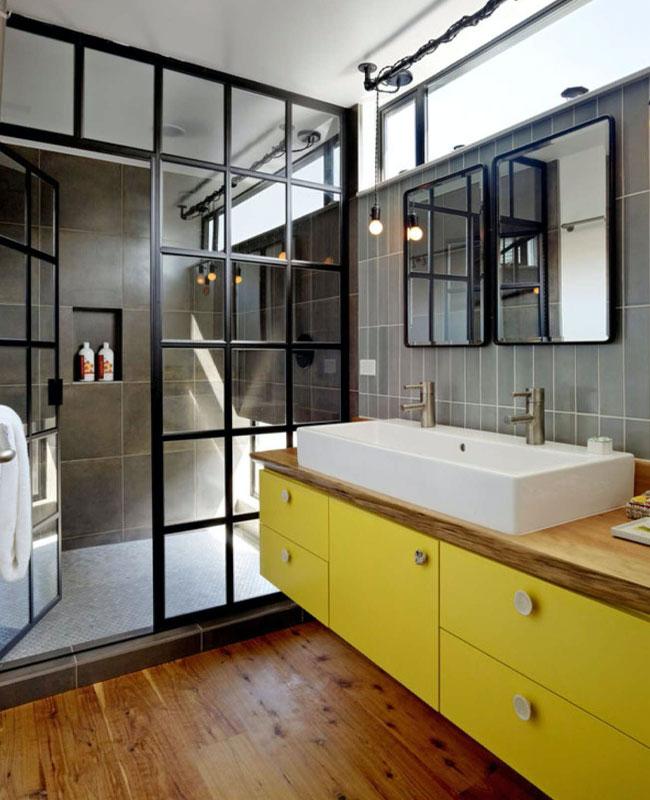 deco industrielle jaune salle de bain