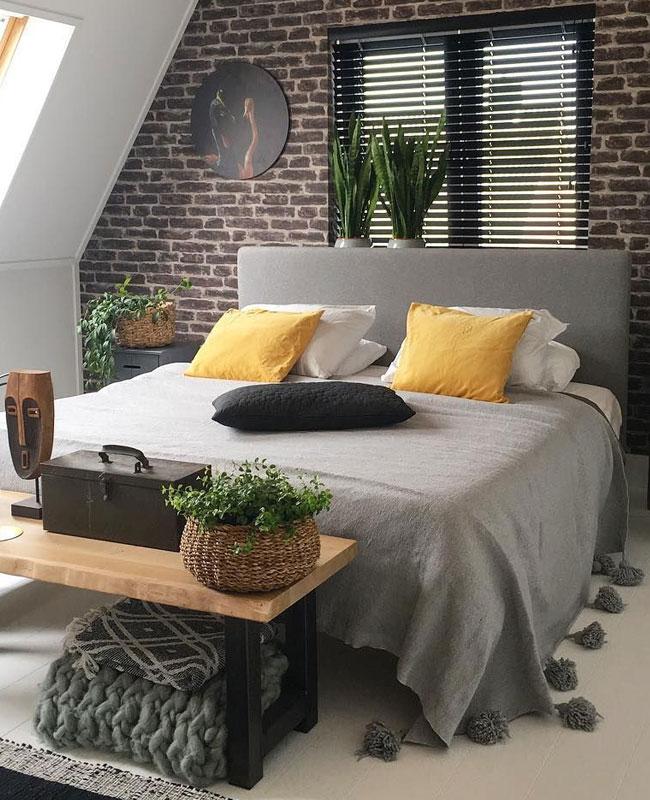 deco industrielle jaune chambre
