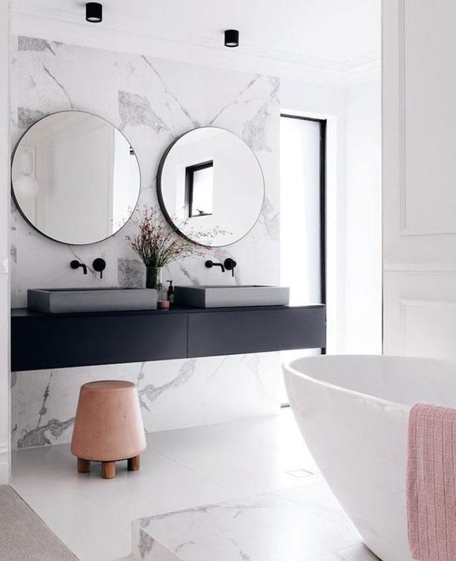 deco moderne blanc salle de bain