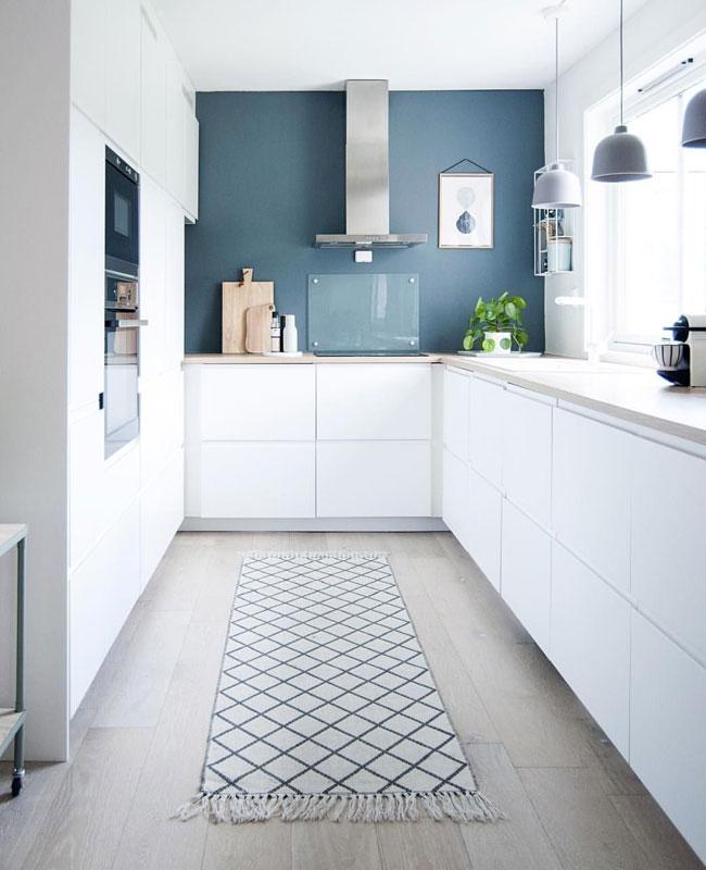 deco moderne bleu cuisine mur