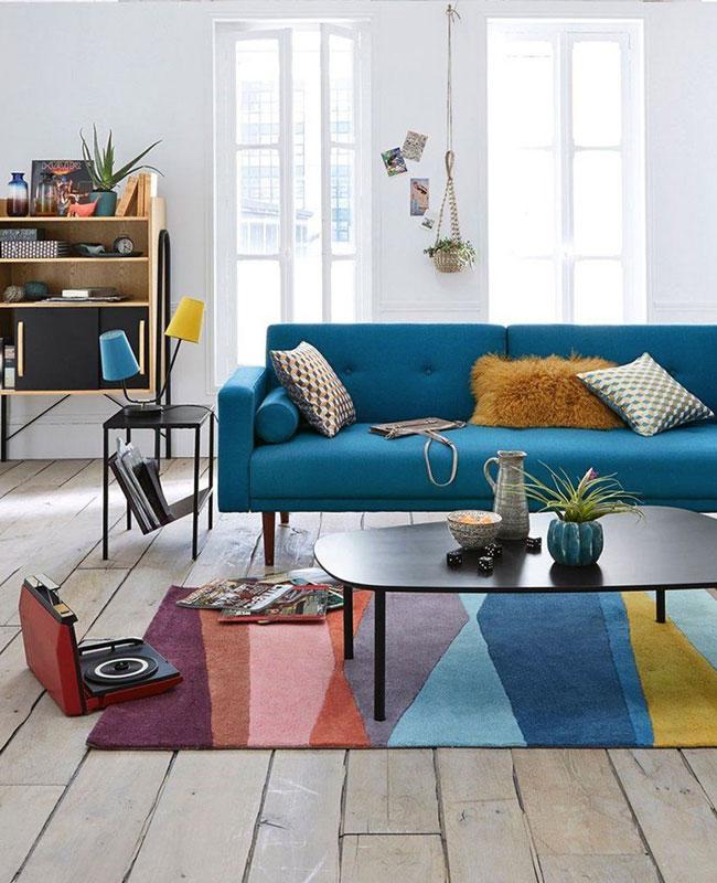 deco moderne bleu canape salon