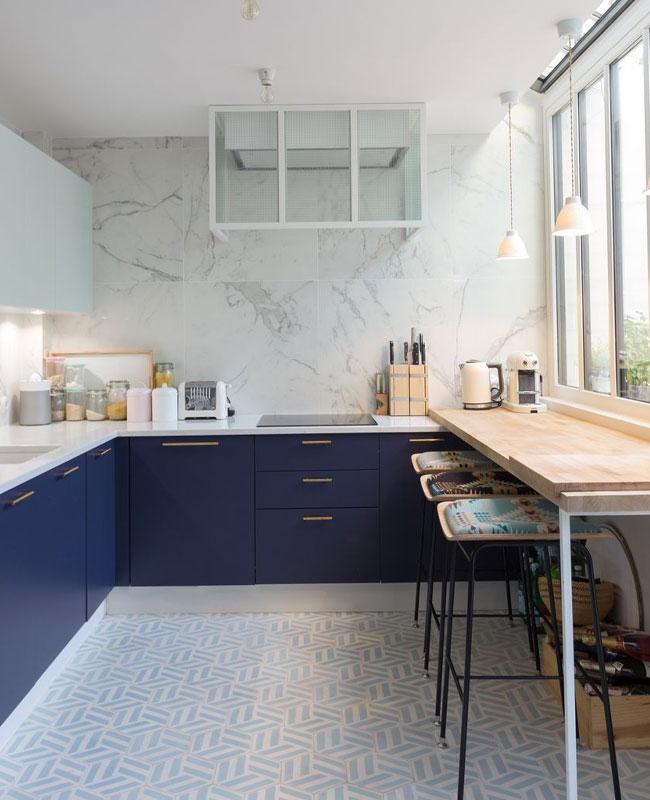 deco moderne bleu cuisine portes