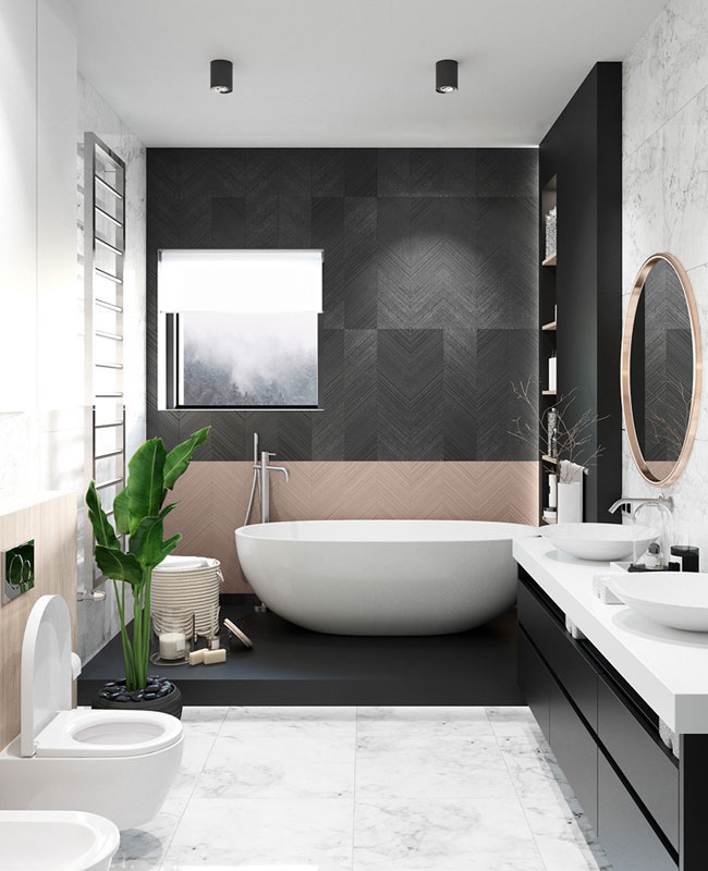 deco moderne rose salle de bain noir
