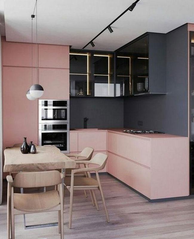 deco moderne rose cuisine noir