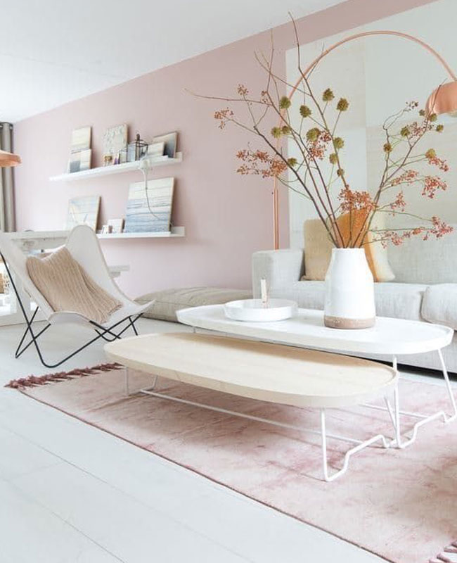 deco moderne rose salon mur