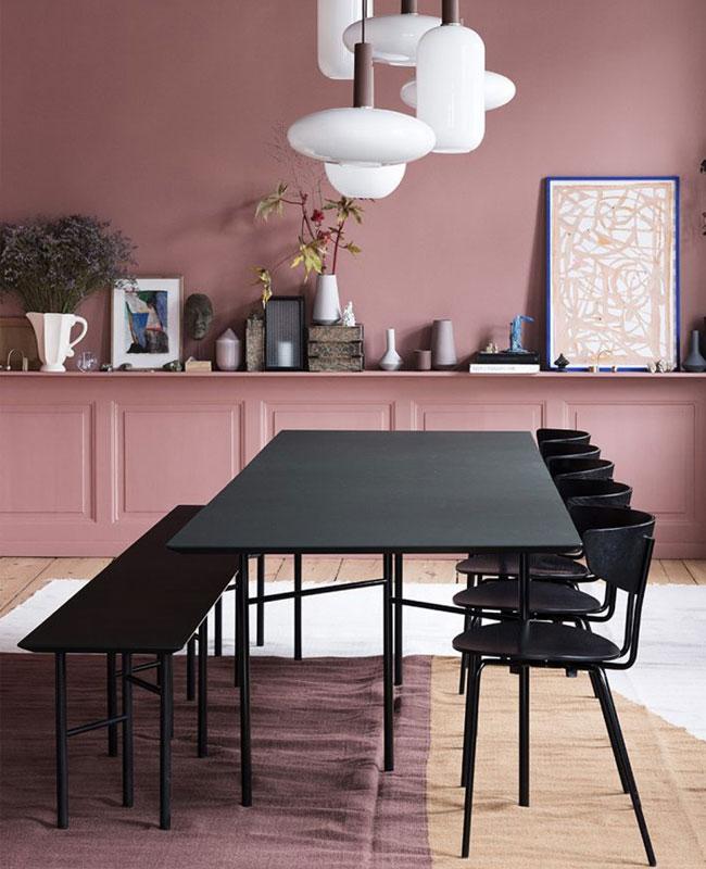 deco moderne rose salle a manger noir