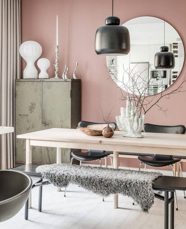 deco moderne rose salle a manger scandinave