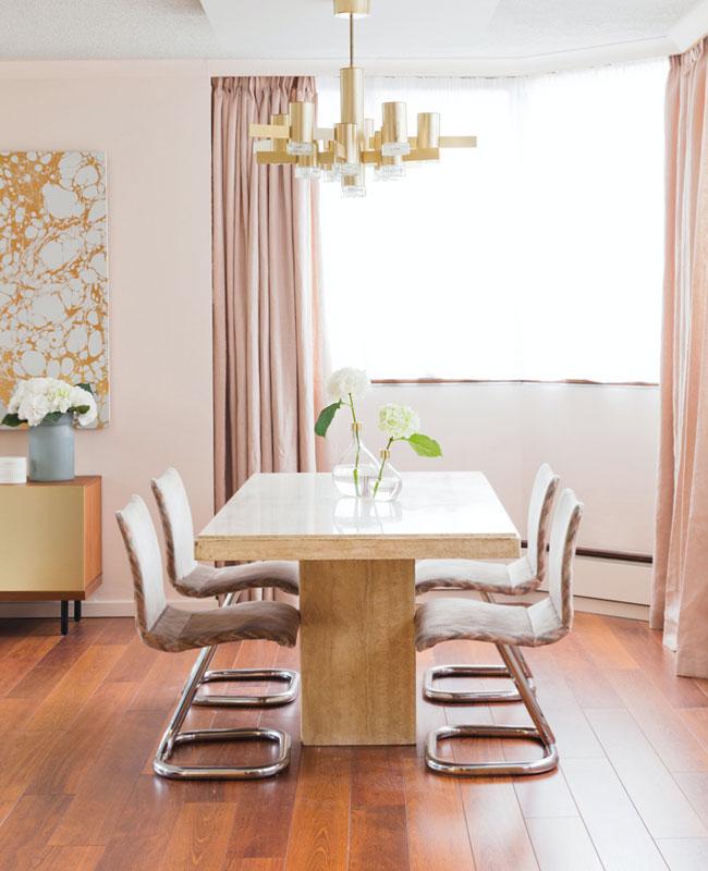 deco salle a manger rose art deco rideaux
