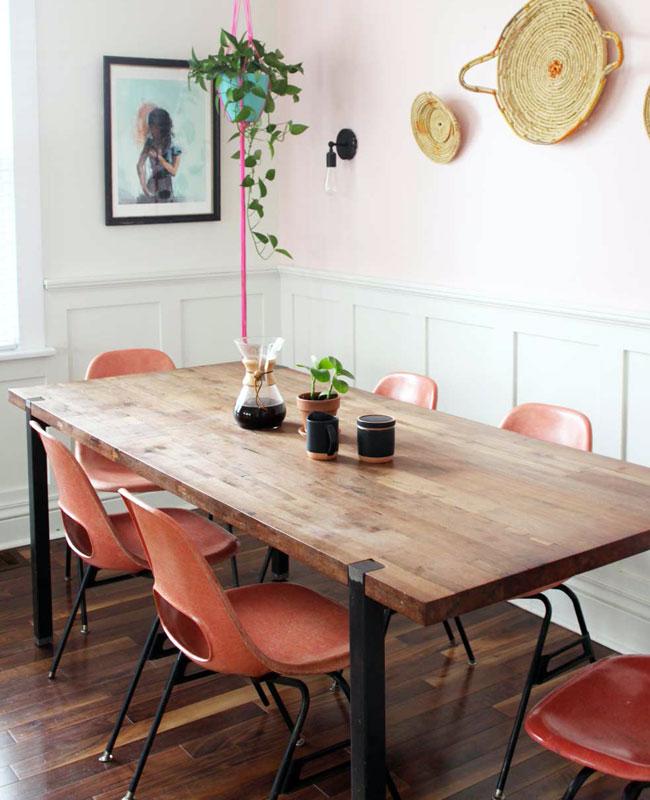 deco salle a manger rose mur pastel
