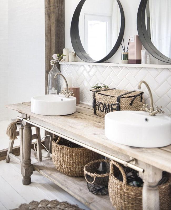 deco salle de bain boheme bois panier