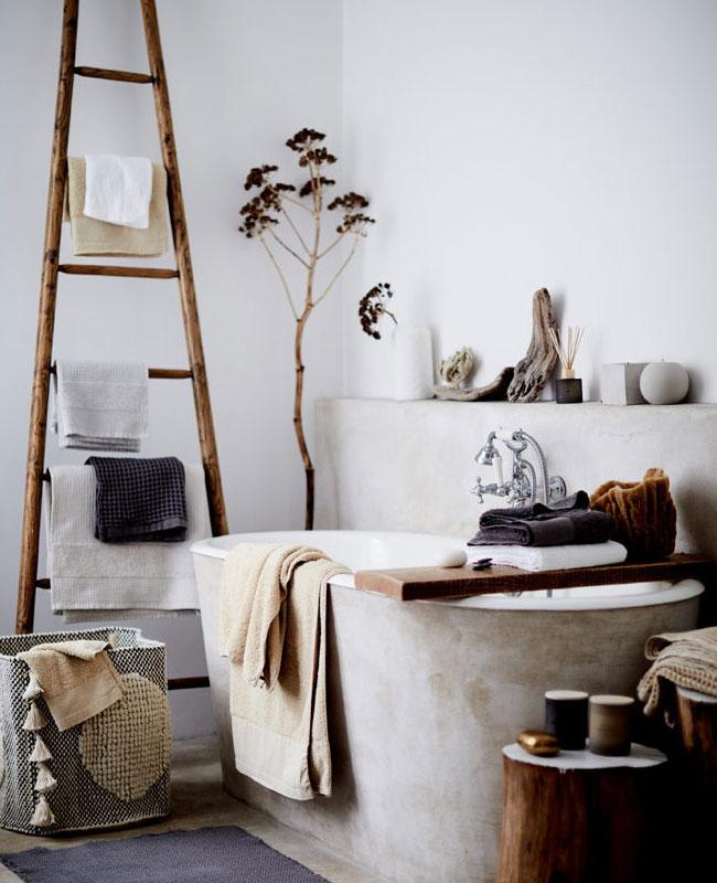 deco salle de bain boheme beton bois