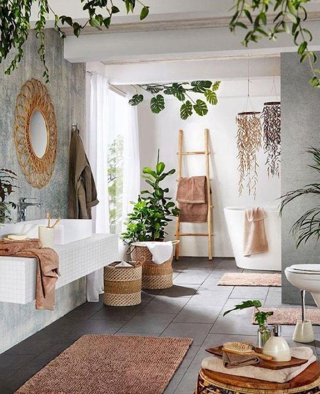 deco salle de bain boheme chic beton
