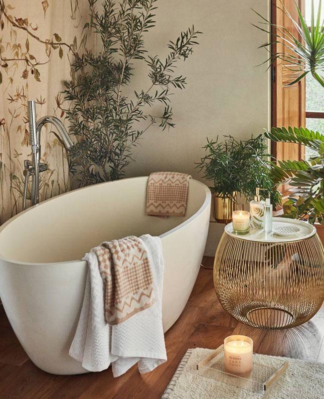deco salle de bain cosy végétale