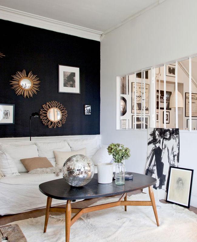 deco salon beige noir vintage