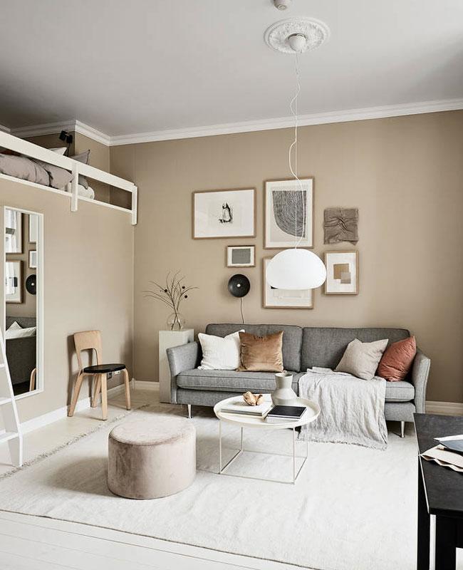 deco salon beige mur moderne