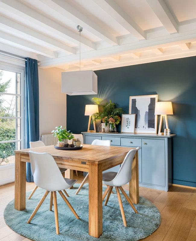 deco scandinave bleu canard salle a manger